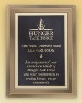 Gold Mirror Glass Plaque with Brass Plate Achievement Awards