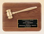 American Walnut Plaque with Antique Bronze Gavel Achievement Awards