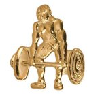 Gold Weightlifting Metal Chenille Letter Insignia All Trophy Awards
