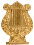 Gold Music Lyre Metal Chenille Letter Insignia All Trophy Awards