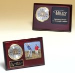 Rosewood Piano Finish Desk Clock with 3 X 3 Photo Area Boss Gift Awards