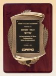 Rosewood Piano Finish Plaque with Antique Bronze Casting Cast Relief Plaques