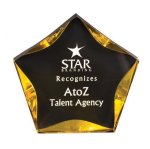 Black/Gold Luminary Star Acrylic Award Colored Acrylic Awards