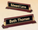 Rosewood Piano Finish Nameplate Desk Wedge Name Plates