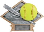 Softball - Diamond Plate Resin Trophy Diamond Awards
