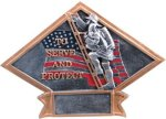 Firefighter - Diamond Plate Resin Trophy Diamond Plate Resin Trophies