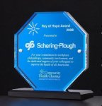 Octagon Series Acrylic Award Featuring a Blue Mirror Employee Awards