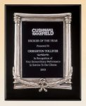 Black Piano Finish Plaque with Antique Silver Frame Casting Employee Awards