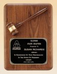 American Walnut Plaque with Walnut Gavel Employee Awards