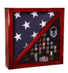Rosewood Piano Finish Flag Display Case Patriotic Awards