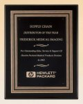Black Piano Finish Plaque with Gold and Black Embossed Frame Piano Finish Plaques