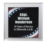Patriotic Marble Acrylic Paperweight Square Rectangle Awards