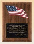 American Walnut Plaque with an American Flag Star Awards
