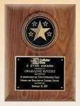 American Walnut Plaque with 5 Star Medallion Star Awards