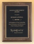 Walnut Stained Piano Finish Plaque with Brass Plate Walnut Plaques