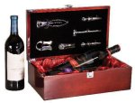 Rosewood Piano Finish Double Bottle Wine Bowith Tools Wine Gifts